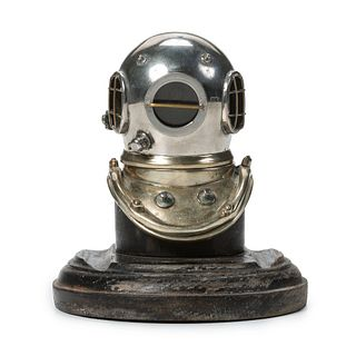 A Rare Siebe Gorman & Co. Silvered Metal and Ebonized Wood Diving Helmet-Form Inkwell, London, England, Circa 1910