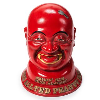 A Painted Cast-Iron Smilin' Sam From Alabam: The Salted Peanut Man Peanut Dispenser
