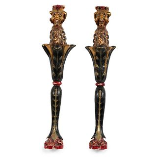 A Pair of Bacchus Carved and Painted Wood Carousel Posts