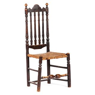 A William and Mary Brown-Painted Bannister Back Splint-Seat Side Chair