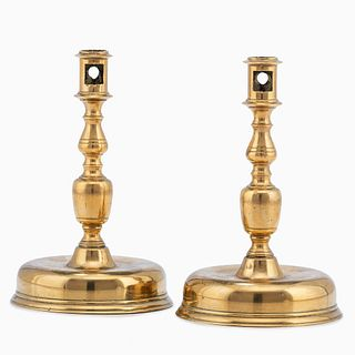 A Pair of Continental Brass Candlesticks, Circa 1680
