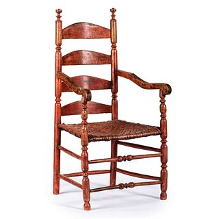 A William and Mary Turned and Red-Painted Slat-Back Splint Seat Armchair, New England, circa 1770
