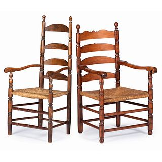Two William and Mary Turned Maple Slat-Back Rush Seat Armchairs, New England, 18th Century