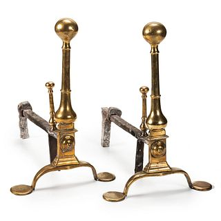 A Pair of Queen Anne Brass Andirons, Mid-18th Century