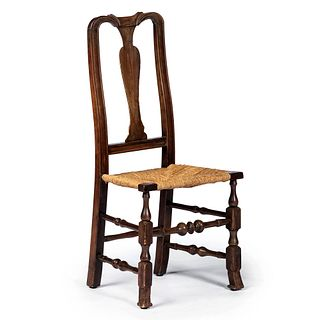 A Queen Anne Cherrywood Brush-Foot, Rush-Seat Side Chair, New England, Circa 1750 and later