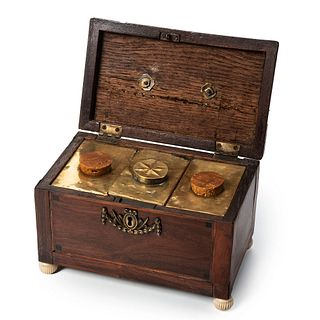 A Diminutive Georgian Oak and Mahogany Inlaid Tea Caddy