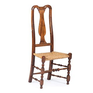 A Queen Anne Carved and Turned Maple Rush Seat Side Chair, Mid-Atlantic States, Circa 1750 with alteration
