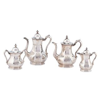 A Wood & Hughes Four-Piece Coin Silver Coffee and Tea Service, Circa 1850