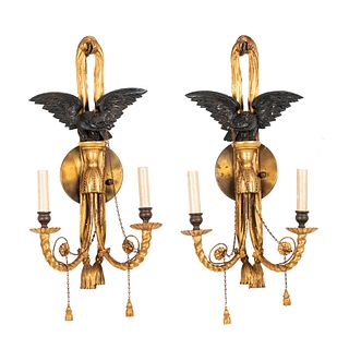 A Pair of Classical Gilt and Ebonized Eagle Two-Light Wall Sconces, Circa 1810