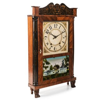 A Classical Parcel-Gilt and Ebonized Mahogany Églomisé Panel Inset 'Mount Vernon' Shelf Clock, Eli Terry Jr., Circa 1830