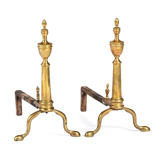 A Pair of Federal Brass Andirons
