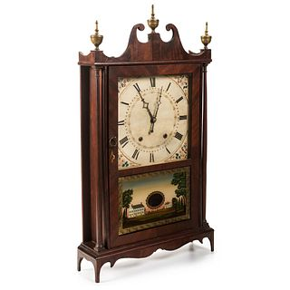 A Federal Eli Terry & Sons Pillar and Scroll Mantel Clock in Mahogany