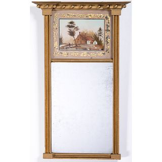 A Federal Giltwood and Eglomise Mirror
