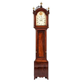 A Federal Mahogany Arched and Pierced Bonnet Tall Case Clock, Circa 1800