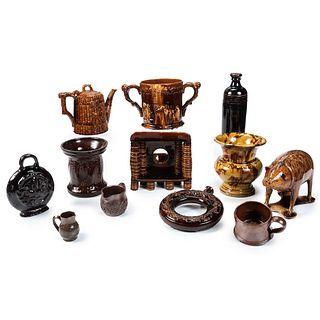 Twelve Pieces of Rockingham Glaze Pottery and Redware
