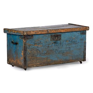 A Continental Blue Painted Iron Mounted Pine Blanket Chest, Circa 1800
