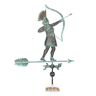 A Large Molded Copper Shooting Indian Weathervane