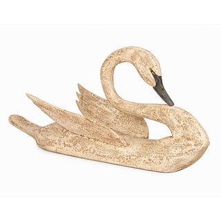 A Painted Wood Swan Decoy