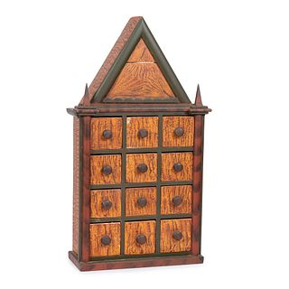 A Polychrome Grain-Painted Pine Spice Cabinet