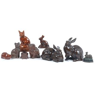Nine Sewer Tile and Other Ceramic Cat and Rabbit Figures