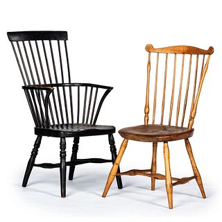 A Black-Painted Comb-Back Windsor Armchair and a Simulated Bamboo Carved Windsor Side Chair