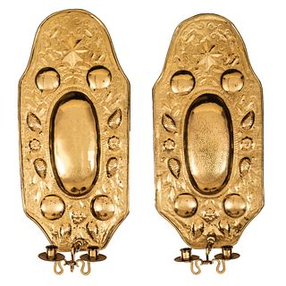 A Pair of Dutch Pressed Brass Two-Light Wall Sconces