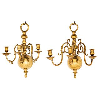 A Pair of Brass Three-Light Scones