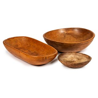 Three Wooden Bread Bowls
