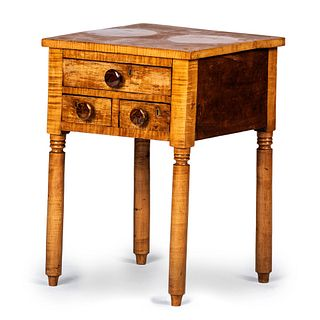 A Late Federal Tiger Maple and Cherrywood Three-Drawer Work Stand, New England, Circa 1820