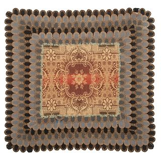 A Rare Pieced and Woven Table Covering, Circa 1820