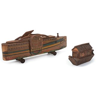 Two Wooden Boat Toys, Including a Providence Lithograph-Decorated Pull Toy by W. S. Reed