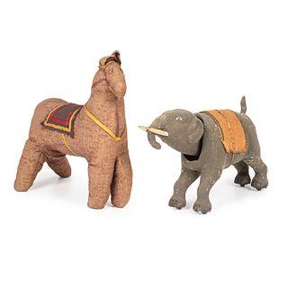 An Elephant Nodder and Stuffed Horse