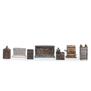 Five Cast Iron Novelty Still Banks and and Two Cash Boxes