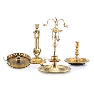 Five English Brass Lighting Accessories