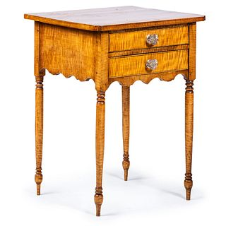A Late Federal Tiger Maple Work Table, likely Connecticut, Circa 1830