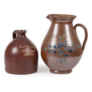 Two Glazed Stoneware Jugs