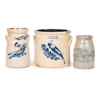 Three Cobalt-Decorated Stoneware Crocks