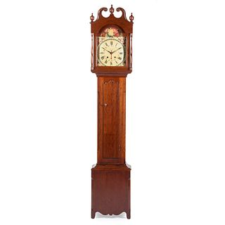 A Chippendale Carved Cherrywood Tall Case Clock, Attributed to Elijah Warner, Kentucky, circa 1815