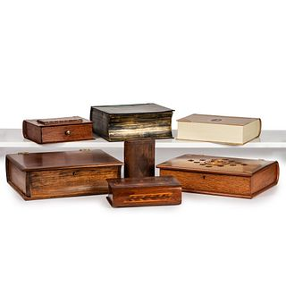 Five Wooden Book Form Boxes