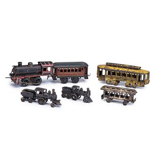 Five Cast Iron and Painted Tin Train Cars and Engines