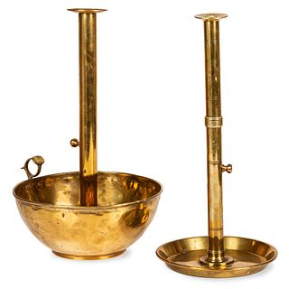 Two Large English Brass Push-Up Mechanism Chambersticks