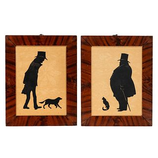 Two Cut Paper Silhouette Portraits of Men With a Dog and Cat