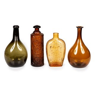 Four Blown and Molded Colored Glass Bottles