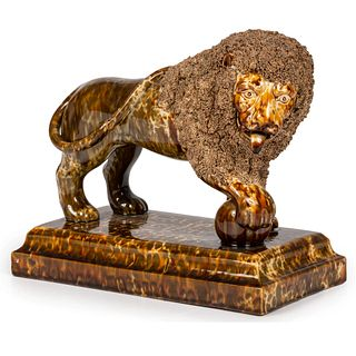 A Bennington Flint Enamel Glazed Lion, Attributed to Lyman Fenton & Co.