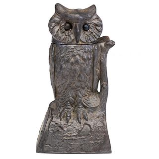An Owl Turns Head Cast Iron Mechanical Bank
