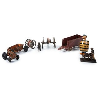 Seven Cast Iron and Painted Tin Toys