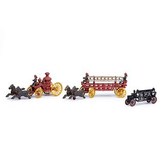 Three Cast Iron Fire Engine Toys