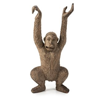 A Chip Carved and Stained Wood Hanging Monkey Circus Figure