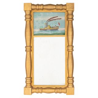 A Classical Giltwood And Reverse Painted Mirror