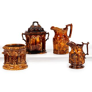 Four Rockingham Glaze Vessels with Gothic Arch Decoration